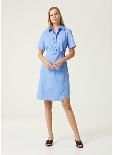 Beymen Collection Beymen Collection  Volan Detaylı Kısa Kol Gömlek Elbise 101593231 Mavi